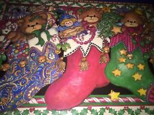 Vtg Pimpernel Holiday Placemats & Coasters Christmas Bears EUC