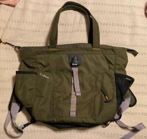 LL Bean Tote Messenger Bag Backpack Green