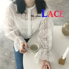 Women Sexy Lace Long Sleeve Top Blouse #104