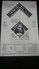 1966 Masculine Feminine  Jean-Luc Godard  vintage press sheet  Chantal Goya