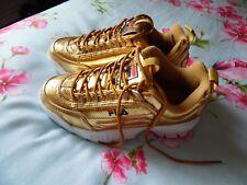 FILA Disruptor II Premium Metal Gold Trainers. Brand new,  Size 4 UK.