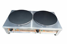 New Commercial Double Electric Crepe Maker Pancake Pan Griddle Machine 220V