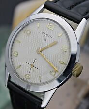 C. 1950 ELGIN 554 Hand Wind 15j 4 Adj. Linen Dial Stainless Steel Dress Watch L8