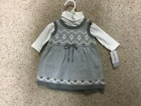 Carter's Baby Girls 2 Piece Winter Outfit Size 3 Mo Bodysuit Sweater Dress Set