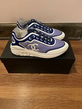 New Chanel Blue & White Lycra CC Logo Lace Up Low Top Sneakers 38 $900
