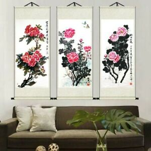 Asian Oriental Picture Scrolls Peony Painting Wall Hanging Artwork Feng Shui