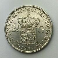 Dated : 1937 - Silver Coin - Netherlands - 2 1/2 Gulden - Wilhelmina I