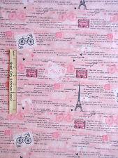 Paris Fabric - Eiffel Tower France French Words C3643 Timeless Treasures - Yard