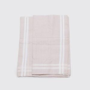 HERMES Paris Scarf Fine Cotton Beige White Stripe Pocket Square