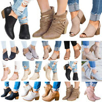 Womens Mid Block Heels Ankle Boots Zipper Fashion Low Shoes Wedge Pumps Size US
