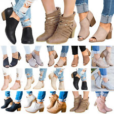 Women Mid Block Heel Ankle Boots Ladies Chunky Booties Summer Sandals Shoes Size