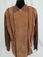 LORENIER MEN'S SZ XLT, BROWN LEATHER WOOL SWEATER JACKET FULL ZIP