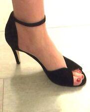 KMB Women Leather Black Sandals Heels Size 9us = 40eur