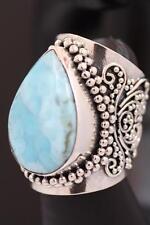 Handmade Sterling Silver .925 Bali Dome Ring w Lg Teardrop Larimar Gem. Sz. 7.5