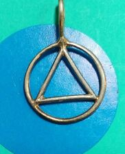 F48 Triangle In Circle Sterling Silver Vintage Bracelet Charm