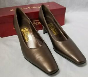 Salvatore Ferragamo Womens Bronze Shoes, Rio Calf Heels Pumps Size 8 AAA w Box,