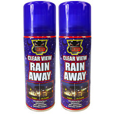 2 x Clear View Rain Away Windscreen Glass Window Spray Can Water Repellent