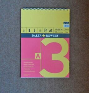 Daler Rowney A3 Smooth Cartridge Paper. 25x sheet Book. New. 150g/m2
