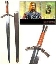 S0112 LORD OF THE RINGS ARAGORN BOROMIR SWORD W/ SCABBARD SILVER VERSION 38""