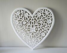 Extra Large Hand Carved White Mango Wood Art Heart Wall Panel Decoration 24x24""