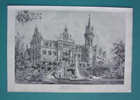 GERMANY Schkopau Castle - VICTORIAN Antique Print