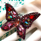 Original WEISS Signed Large BUTTERFLY Brooch Pin Rhinestone Red Pink AB Vintage