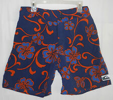 Quiksilver Surf Board Shorts 32 Vtg 90's Hawaiian Hisbiscus Navy Blue Orange