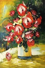 Floral in Vase,Original Oil Painting by R. Cook, 61 X91 cm
