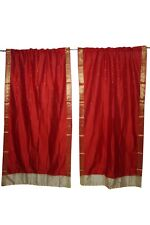 2 Red Sheer Sari Panel Rod Pocket Curtain Drape Home Decor 84x44