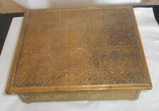 "Hand Tooled circa 1920-30's Metal Design Sewing Box 11"" Wide x 9"" Deep x 4"" Tall"