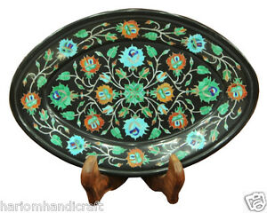 """10""""x7"""" Belgium Black Marble Serving Plate Mosaic Inlay Marquetry Art Decor H2229"""