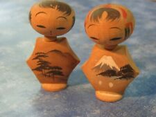 """PAIR OF VINTAGE JAPANESE MINI WOODEN 6 SIDED KOKESHI DOLLS 2"""" Tall Signed"""