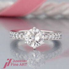 SOLITÄR-RING 1 Brillant(Diamant) 1,75ct F / vs1 DPL + 14 Brillanten-18K/750 WG