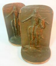 Vtg Iron Metal Native American INDIAN on Horse Bookends Book EndsSculpture