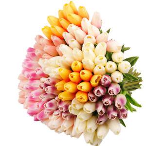 10x Tulip Artificial Flower Latex Real Bridal Wedding Bouquet Home Deco hi