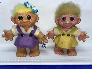 "Vintage Lot Girl Troll Doll Bank w/ Blue Green Eyes Biloxi MS Bank Tag 8"""