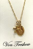 NEW Von Treskow Gold St Christopher & Cross Necklace Religious Protection Travel