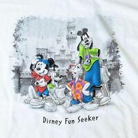 VTG DISNEY STORE 1990s DISNEY FUN SEEKER Mickey Donald Goofy & Pluto T-SHIRT XL