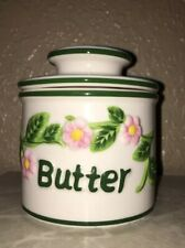 Butter Crock Pink Green Floral Design Butter Beurre Jar
