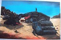 Star Wars The Force Awakens ATAT Rey Jakku Doyle Desert art print movie poster