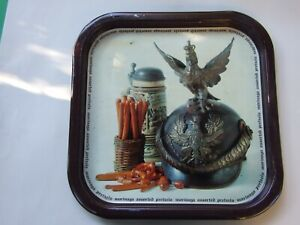 Vintage Tin Tray Litho German Military Hat Pretzels Advertising Collectables 60'