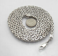 """4.3mm  36"""" All Shiny Square Byzantine Chain Necklace Real Solid 925 Silver"""