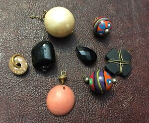 Vintage Mixed Lucite Glass Painted Boho Wood Drops Bead Dangles Gypsy Bead Lot
