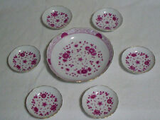 7 Piece AK Kaiser Petersburg Germany Floral Porcelain Condiment Serving Set EUC