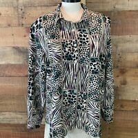 ALFRED DUNNER Women's 1X Plus Black & Blue Long-Sleeve Poly Button-Shirt NWOT