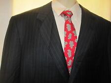 $4195 OXXFORD HIGHEST Quality 120'S QUALITY Navy Blue Stripe Suit 44L 44 40X32