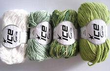 Ice Yarns - Thin Chenille Yarn - Chartreuse Green & Mint - Micro Mini
