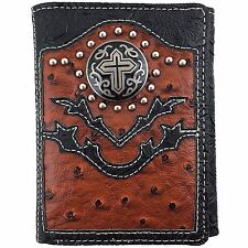 Premium Western Cowboy Mens Wallet Black Brown Leather With Cross Carved Design