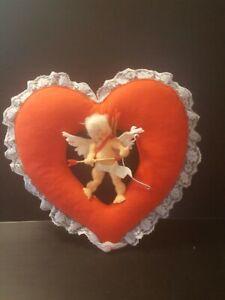 Vintage Valentines Day Annalee Mobilitee Felt Wreath Cupid Angel doll heart 1983