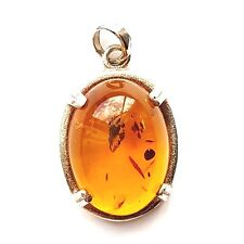 AMBER PENDANT Rounded Oval Amber Stone Charm .925 STERLING SILVER